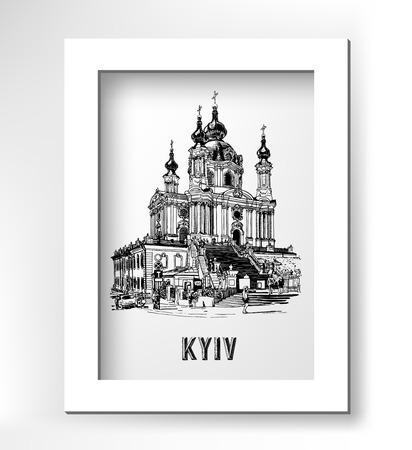 original black and white digital drawing of Saint Andrew orthodox church by Rastrelli in Kyiv, Ukraine, engraving style in white minimalistic frame, vector illustration