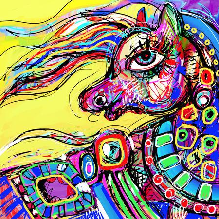 cabeza de caballo: dibujo digital abstracta original de la cabeza de caballo de color, ilustración vectorial
