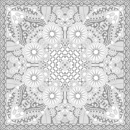 dibujos para pintar: p�gina �nica para colorear libro cuadrado para adultos - dise�o de la alfombra floral aut�ntico, la alegr�a a los ni�os mayores y adultos coloristas, que como l�nea de arte y creaci�n, ilustraci�n vectorial