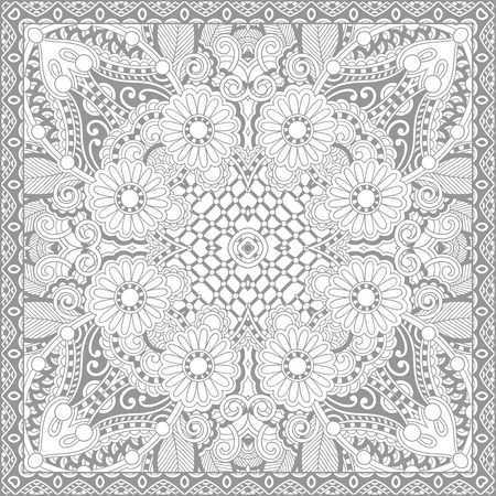 color book: unique coloring book square page for adults - floral authentic carpet design, joy to older children and adult colorists, who like line art and creation, vector illustration