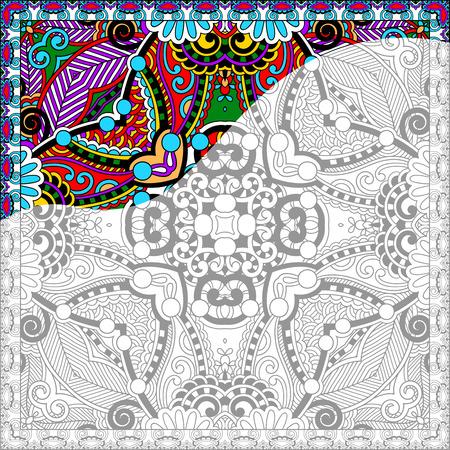 성인을위한 고유의 색칠 공부 광장 페이지 - 꽃 정통 카펫 디자인, 라인 아트와 창조, 벡터 일러스트 레이 션 좋아하는 청소년 및 성인 컬러리스트, 기