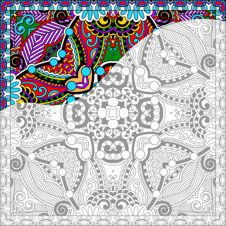 coloring book pages: unique coloring book square page for adults - floral authentic carpet design, joy to older children and adult colorists, who like line art and creation, vector illustration