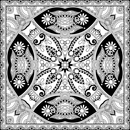 unique coloring book square page for adults - floral authentic carpet design, joy to older children and adult colorists, who like line art and creation, vector illustration Vector