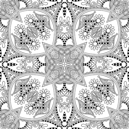 enthusiasm: unique coloring book square page for adults - floral authentic carpet design, joy to older children and adult colorists, who like line art and creation, vector illustration