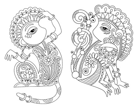 line art drawing set of ethnic two monkey in decorative ukrainian style, black and white vector illustration Vector