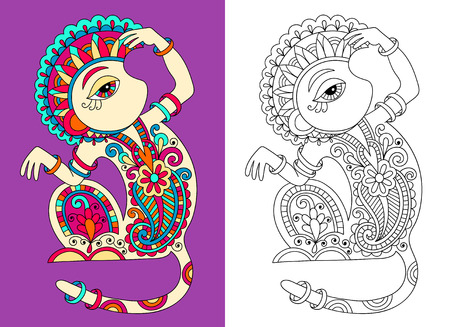 coloring book page for adults with unusual fantastic monkey in decorative Ukrainian karakoko style, vector illustration