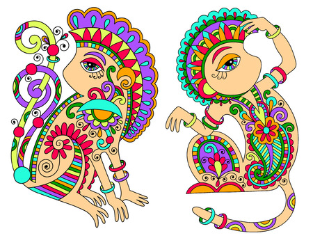 line art drawing of two ethnic monkey in decorative ukrainian style, colored vector illustration Vector