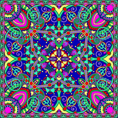 wraps: bufanda de seda o de patrón de diseño cuadrado pañuelo en estilo ucraniano para imprimir sobre tela, ilustración vectorial Vectores