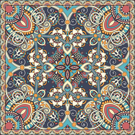 voile: silk neck scarf or kerchief square pattern design in ukrainian style for print on fabric, vector illustration