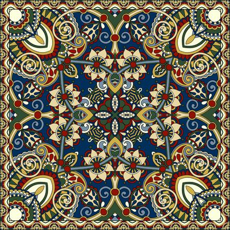 robo: auténtica bufanda de seda o de patrón de diseño cuadrado pañuelo en estilo ucraniano para imprimir sobre tela, ilustración vectorial