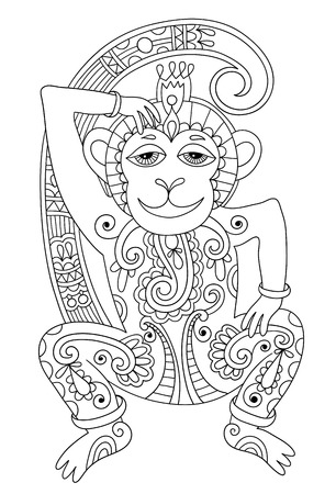 line art drawing of ethnic monkey in decorative ukrainian style, black and white vector illustration