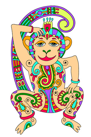 line art drawing of ethnic monkey in decorative ukrainian style, colored vector illustration Vector