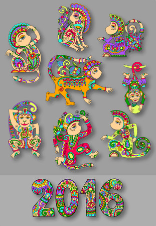 set of different colors decorative monkey - chinese symbol 2016 lunar new years and inscription, you can use for poster, greeting card, celebration design or web decoration, vector illustration Vector