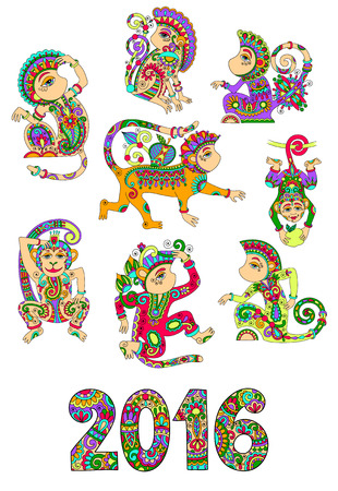 chinese ethnicity: set of different colors decorative monkey - chinese symbol 2016 lunar new years and inscription, you can use for poster, greeting card, celebration design, web decoration, vector illustration on white Illustration