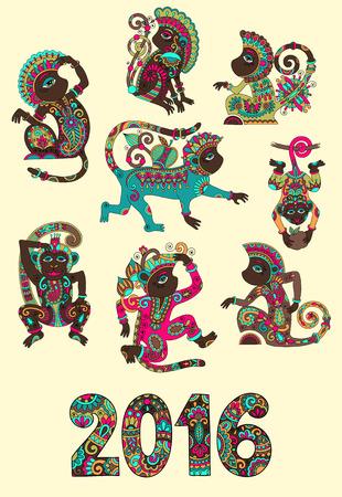 monos: conjunto de diferentes colores decorativos mono - s�mbolo chino 2016 a�os nuevos lunares y la inscripci�n, se puede utilizar para el cartel, tarjetas de felicitaci�n, celebraci�n de dise�o o decoraci�n web, ilustraci�n vectorial