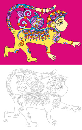 fantastic creature: coloring book page for adults with unusual fantastic creature in decorative Ukrainian karakoko style, vector illustration