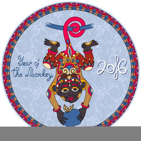 ape: original design for new year celebration with decorative ape and inscription - 2016 Year of The Monkey - on circle ornamental light blue color background, vector illustration