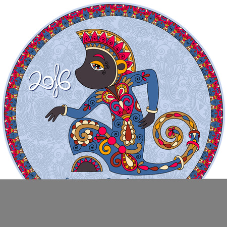 baboon: original design for new year celebration with decorative ape and inscription - 2016 Year of The Monkey - on circle ornamental light blue color background, vector illustration