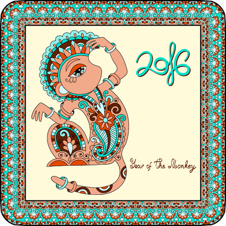 baboon: original design for new year celebration with decorative ape and inscription - 2016 Year of The Monkey - in ornamental frame with light yellow color background, vector illustration
