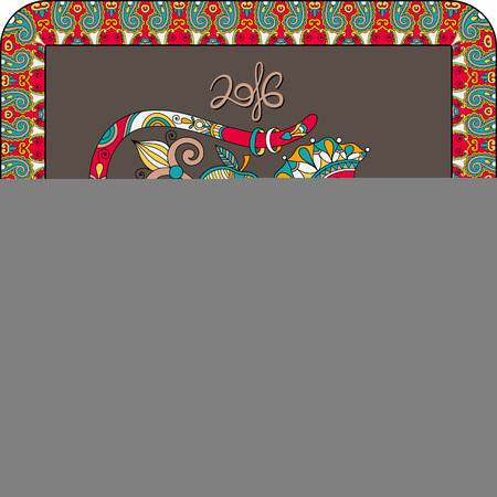 new year celebration: original design for new year celebration with decorative ape and inscription - 2016 Year of The Monkey - on square frame ornament with red and brown color background, vector illustration