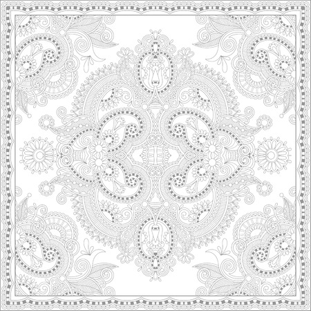 authentic: unique coloring book square page for adults - floral authentic carpet design, joy to older children and adult colorists, who like line art and creation, vector illustration