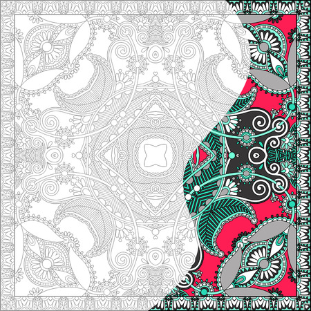 unique coloring book square page for adults - floral authentic carpet design, joy to older children and adult colorists, who like line art and creation, vector illustration