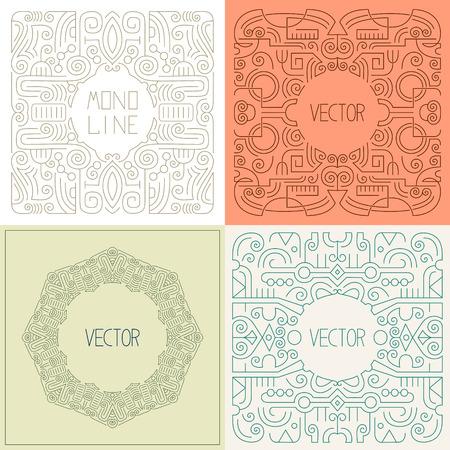 art frame: abstract hipster line art frame, outline design element in trendy mono line style, vector illustration