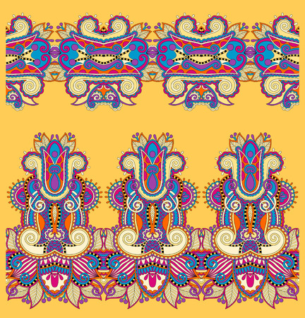 trendy tissue: seamless ethnic floral paisley stripe pattern, border set, yellow tribal ornament for print or embroidery ribbon, or for the design of polygraphy or web Illustration