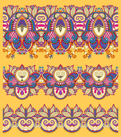 polygraphy: seamless ethnic yellow paisley stripe pattern, border set, ukrainian tribal ornament for print or embroidery ribbon, or for the design of polygraphy or web