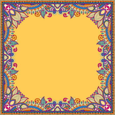 product background: yellow floral vintage frame, ukrainian ethnic style. Vector illustration