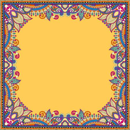 pattern background: yellow floral vintage frame, ukrainian ethnic style. Vector illustration