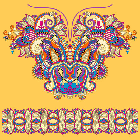 neckline: Neckline yellow ornate floral paisley embroidery fashion design, ukrainian ethnic style. Good design for print clothes or shirt. Vector illustration