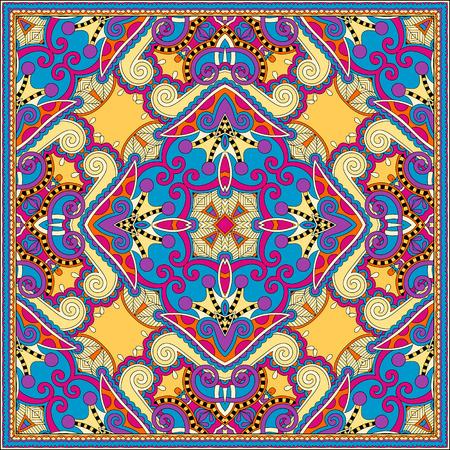 stole: bufanda de seda o de patrón de diseño cuadrado pañuelo en estilo ucraniano para imprimir sobre tela, ilustración vectorial Vectores