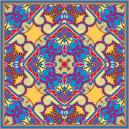 stole: silk neck scarf or kerchief square pattern design in ukrainian style for print on fabric, vector illustration