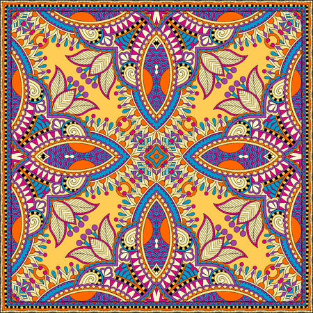 kerchief: yellow silk neck scarf or kerchief square pattern design in ukrainian style for print on fabric, vector illustration