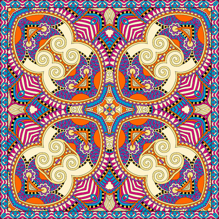voile: yellow silk neck scarf or kerchief square pattern design in ukrainian style for print on fabric, vector illustration