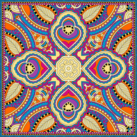 headscarf: silk neck scarf or kerchief square pattern design in ukrainian style for print on fabric, vector illustration