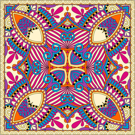 hanky: silk neck scarf or kerchief square pattern design in ukrainian style for print on fabric, vector illustration