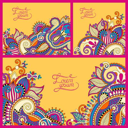presentation card: set of floral yellow background, template frame design for card, brochure, book, business card, postcard, wedding invitation, banner, vector illustration