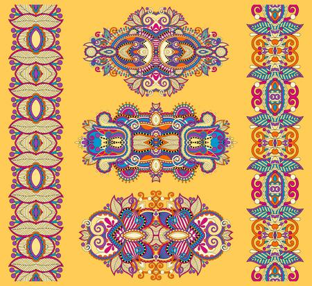 adornment: ornamental ethnic yellow floral adornment, vector illustration Illustration