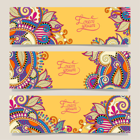batik: Set of three yellow horizontal banners with decorative ornamental flowers, floral pattern in oriental style, paisley background, vector illustration Illustration
