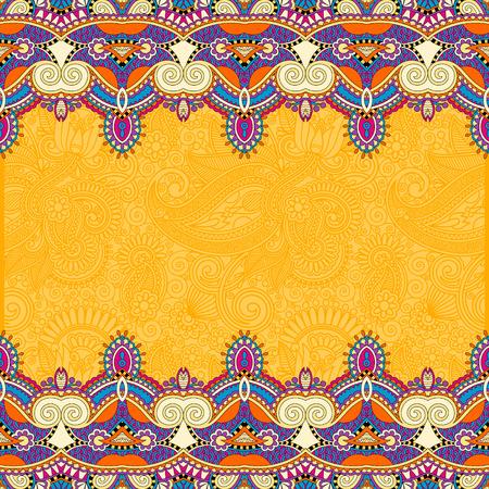 batik: ornement bande jaune sur fond floral, idéal pour invitation, couverture de livre, conception d'emballage, cartes de v?ux et autres, illustration vectorielle Illustration