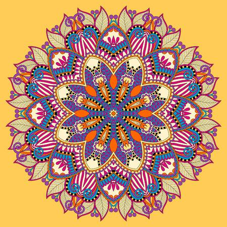 manipura: mandala, yellow circle decorative spiritual indian symbol of lotus flower, round ornament pattern, vector illustration Illustration