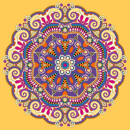 マンダラ、黄色円装飾的な精神的なインド シンボルの蓮の花を丸い飾り、パターン、ベクトル イラスト  イラスト・ベクター素材