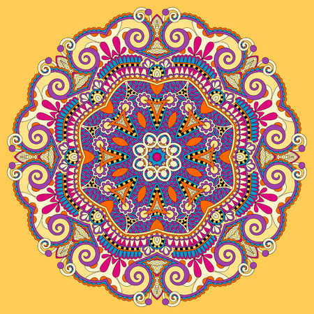 mandala, yellow circle decorative spiritual indian symbol of lotus flower, round ornament pattern, vector illustration Ilustração