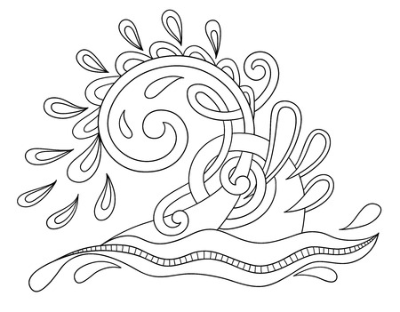 fountains: black and white decorative aquatic wave with sparks and drops, water design vector illustration