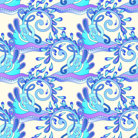 aquatic: seamless decorative aquatic blue wave with sparks and drops background, water design vector illustration