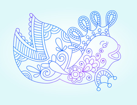 sea monster: blue line drawing of sea monster, underwater decorative fish, graphic design element for print or web, vector illustration eps10