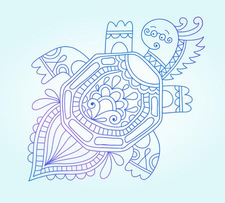 sea monster: blue line drawing of sea monster, underwater decorative tortoise, graphic design element for print or web, vector illustration eps10 Illustration