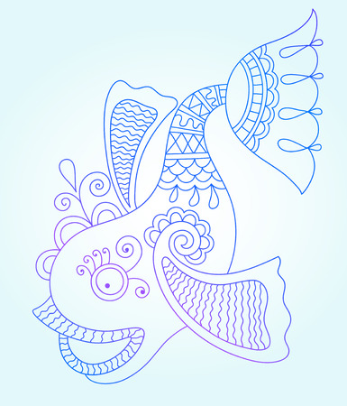 decorative fish: blue line drawing of sea monster, underwater decorative fish, graphic design element for print or web, vector illustration eps10